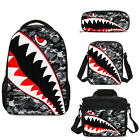 Camouflage Shark Teeth Students Backpack School Insulated Lunchbox Purse Kid Lot