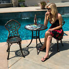 3pc Bistro Set Patio Table Chairs Ivory Furniture Balcony Pool Antique Vintage