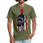 Betsy Ross 1776 Spartan American Flag USA Skull Fitted Cotton/Poly T-Shirt image