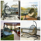 Hanging Egg Chair Outdoor Porch Garden Swing Cushion Rattan Seat Steel Stand 2