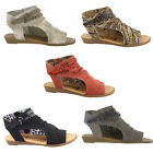 Blowfish Blumoon Sandals Womens Open Toe Zip Up Micro-Wedge Flat Ladies Shoes