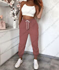 Womens Ladies High Waist Cuffed Bottom Jogging Joggers Active Gym Trousers Pants <br/> Stretchy Cotton Fabric┃Pockets┃Fast Dispatch┃Best Price