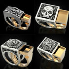 Fashion Mens Heavy Stainless Steel Gothic Punk Biker Rings Lion Skull Jewelry