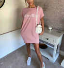 Women Ladies Ye Saint West Slogan Print Baggy Oversized T-Shirt Dress Blouse Top <br/> New Foil Slogan Dress┃Cotton Fabric┃Baggy Style┃Pockets