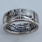 Handmade Coin Rings Vintage Morgan Silver Half Dollar 1945 Carved Jewelry Sz6-13