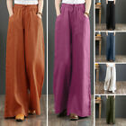 Women Culottes Wide Legs Palazzo Long Pants Solid Elastic Waist Trousers Holiday