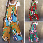 US Women Strappy Dungarees Party Jumpsuit Printed Holiday Rompers Loose Overalls