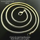 Snake Necklace Chain Bracelet 18k Yellow G/f Gold Solid Pendant Link 19 - 60cm