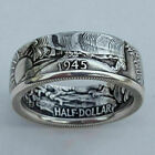 Retro Men 925 Silver Handmade Coin Vintage Morgan Carved Rings Jewelry Size 7-13