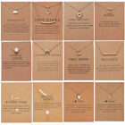 Best Wish Necklace Clavicle Gold/Silver Chain Pendant Women Jewellery Card Gifts