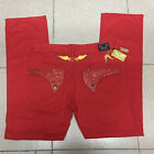 Red Mens Robin Jeans with All Red Crystal Studs Denim Pants Metal Tags sz 30-42