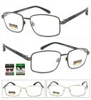 Square Metal Frame Progressive Multi Focus 3 Strengths in 1 Reading Glasses