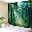 Sunshine Forest Tapestry Green Tree Nature Grasses Branch WallHanging Tablecloth