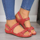 Womens Ankle Strap Wide Fit Flat Sandals Ladies Summer Beach Open Toe Shoes Size