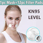 Clear Reusable Face Masks &12pc Filters Anti-droplets Respirator Face Mouth Mask