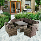 Uk Garden Rattan Sofa Furniture Set Patio Conservatory 9 Seat Dining Table Set