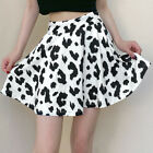 Woman High Waist Pleated Skirt The cow Printed Pleated Mini Party Skirt S-L
