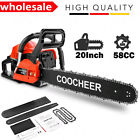 """COOCHEER 20"""" Gas Chainsaw 2 Cycle Handed Petrol Chain 62C/ 58CC Woodcutting 4HP"""