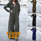 Womens Long Sleeve Hooded Tracksuit Playsuits Casual Zip Up Jumpsuit Overalls US