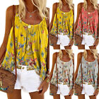 Plus Size Women Summer Strappy Butterfly Print Tank Vest Casual Cami Blouse Tops