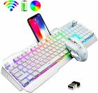 US Rechargeable RGB Wireless Gaming Keyboard Game Mouse Mice Pad LED Backlit Set