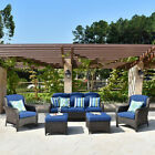5 Pcs Outdoor Patio Furniture Sets Rattan Wicker Couch Set Cushions Sofa Ottoman