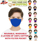 KIDS Face Mask Triple Layers 100 Cotton Washable Reusable With Filter Pocket