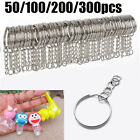 50-300pcs Silver Keyring Blanks Tone Key Chains Split Rings For Link Chain-Boxed