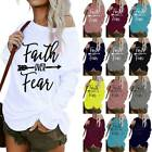 Plus Size Women Arrow Letters Print Long Sleeve Casual Loose T-Shirt Blouse Tops