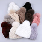 2019 Women's Real Mink Knitted Fur Hat Winter caps Thick Warm Beanies Fox Fur