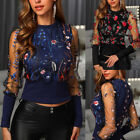 Women Floral Embroidery Long Sleeve Round Neck Sheer Mesh Insert Blouse Tee Tops