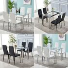 5 Piece Dining Table Set and 4 Chairs Glass Metal Kitchen Room Home Furniture US