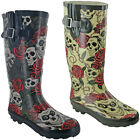 Womens Wellingtons Skull Roses Printed Rain Snow Festival Adjustable Calf UK 3-9