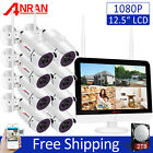 """ANRAN 1080P FHD Wireless Security Camera System with 13""""Monitor 2TB 8CH NVR CCTV"""