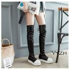 Women's Pleated High Over the Knee Thigh Punk Wedge Platform Pull on Boots Shoes
