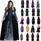NEW Women Medieval Renaissance Gothic Costume Halloween Witch Robe Fancy Dress