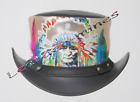 Men's Leather Steampunk Red Indian Motorcycle Club Biker Top Hat- Black & Silver