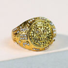 Fashion Lion 18k Gold Rings For Men White Sapphire Party Ring Jewelry Size7-13