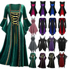 Vintage Women Gothic Punk Lace Up Victorian Medieval Witch Fancy Dress Cosplay