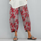 US STOCK Women Linen Cotton Casual Harem Pants Cropped Loose Basic Long Trousers
