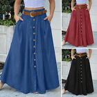 Womens Casual Holiday Party Solid Pleated Skirt Full Length Swing Maxi Dress NEW