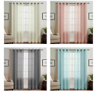 Topick Voile Sheer Curtains Eyelet Top 2 Panels