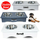 Dog Food Feeding Stand Station Stainless Pet Double Bowls Stand Cat Non-slip NEW