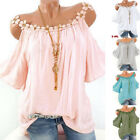Women Summer Lace Neck Cold Shoulder T Shirt Soft Casual Solid Blouse Loose Tops