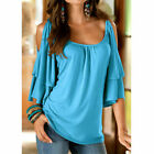 Womens Summer T Shirt Flare Short Sleeve Cold Shoulder Casual Loose Solid Blouse
