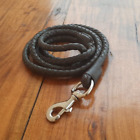 Rolled Leather Dog Leash Soft Braided Real Leather Pet Lead 5 Ft Long Heavy Duty