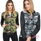 Ladies Bomber Military Quilted Camouflage Zipper Long Sleeve Jacket Coat FZ91