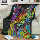 Cat Lover Gifts Cute Cat Color Painting Sherpa Fleece Blanket A