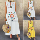 Women Off Shoulder O-Neck Tank Dress Kaftan Floral Oversized Long Midi Sundress