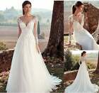 New Elegant A-Line Wedding Dresses Long Sleeves Gown